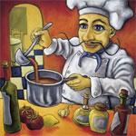 cocinero cocinando en la cocina