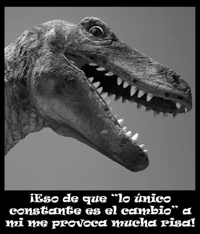 dinosaurio se ríe del cambio